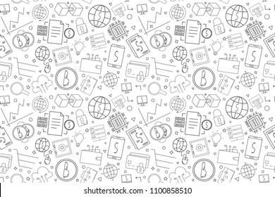 Vector Fintech pattern. Fintech seamless background