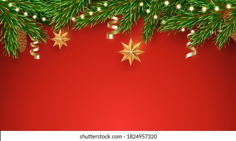 Vector fir tree border with a garland of light bulbs and hanging Christmas decorations. Horizontal red background with pine branches border. Traditional Xmas decor. Design element for winter holidays.