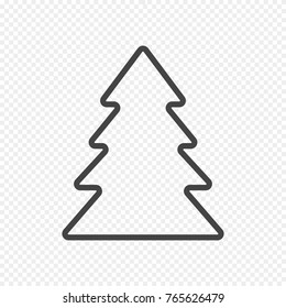 Vector Fir Tree Icon Isolated on Light Transparent Background. Grey Christmas Tree Icon in Line Style. Vector Sign.