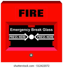 Vector Fire Alarm Emergency Break Glass Press Here warning tool device red box button for building safety to save people life panel to avoid hazard fixed on walls all over facility and offices