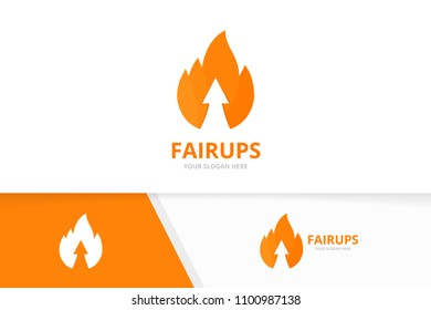 Vector fire and arrow up logo combination. Flame and growth symbol or icon. Unique torch and upload logotype design template.