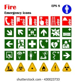Vector fire emergency icons. Signs of evacuations. Set of firefighter warning evacuation emergency signs. It can be used for evacuation plans. Emergency symbol for fire-escape plans.