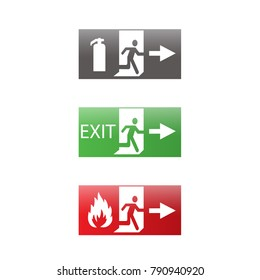 Vector fire emergency icons. Signs of evacuations. Fire emergency exit in green and red. Exit signs. Emergency fire symbols for evacuation plan.