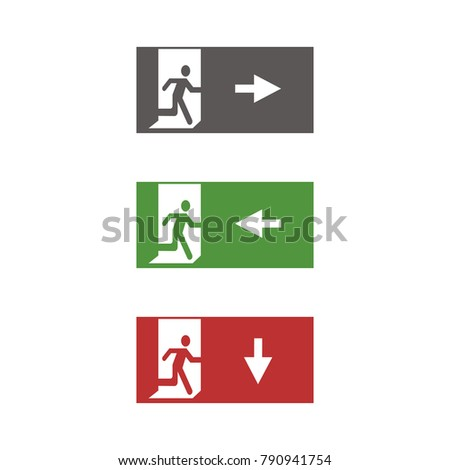 Exit Sign Symbols Genlyte Controls Wiring Diagram Vector Fire Emergency Icons Signs Evacuations Stock Royalty 1000x1000