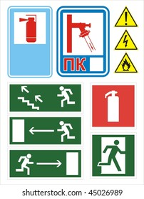 vector fire emergency signs