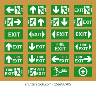 Vector fire exit signs.EPS 10