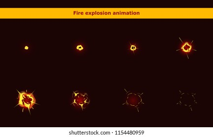 Vector fire explosion animation frames for game or cartoon effect in video, presentation, poster, banner, ads. Vector illustration