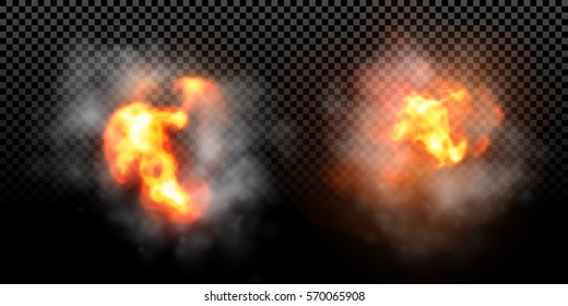 Vector fire explosion effect on black background. Flame blast burst with smoke.