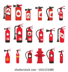 Vector fire extinguisher different Types and sizes (Vector Fire Safety Set Different Types Of Extinguishers)