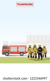vector fire fighter standing on fire station and fire truck background
