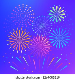Vector fire firework celebration   christmas pyrotechnics firecracker card background gradient template