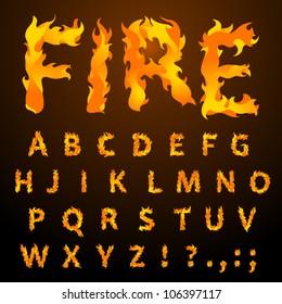 Vector fire flame font caps