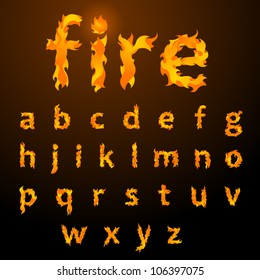 Vector fire flame font small letters