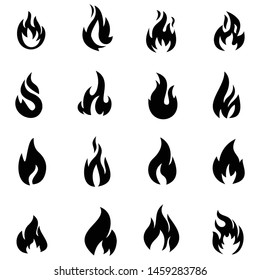 vector fire flame icon set symbol of fire