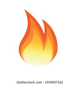 Vector fire flame isolated on white. Vector design element. Fire flame in one layer. Isolated element can be used easily in  graphic design. Fire background.