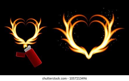 Fire Heart Flame Lighter Spark Hot Of The 3D