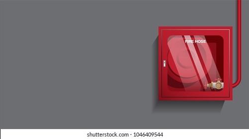 VECTOR - fire hose cabinet on the wall, object with blend shadow on dark background, free left space for purport by user.