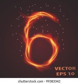 Vector fire number 6 on black background