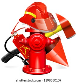 Vector Fire Prevention Equipment Concept with Hydrant isolated on white background