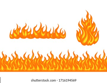 Vector fire set. Cartoon bonfire, horizontal flame and seamless border isolated on white background. Simple flat illustration.