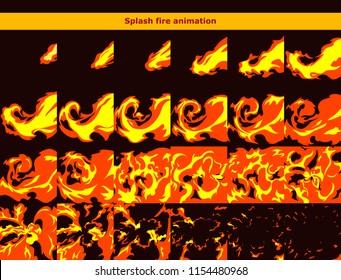 Vector fire splash explosion animation frames for game or cartoon effect in video, presentation, poster, banner, ads. Vector illustration