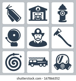 Vector fire station icons set: extinguisher, fire house, hydrant, alarm, fireman, axe, hose, fire truck, gas mask