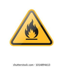 vector fire warning yellow signs, symbol, icons
