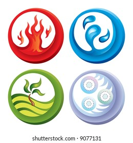 Vector fire, water, soil and air icons