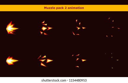 Vector fire weapon muzzle explosion animation frames for game or cartoon effect in video, presentation, poster, banner, ads. Vector illustration