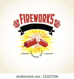 Vector Firecracker Exploding Fireworks Label Logo Icon Distressed