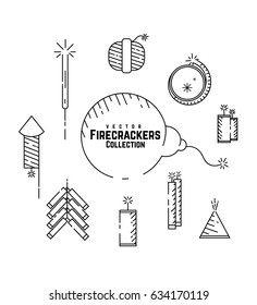 Vector Firecrackers Collection Set, Fireworks Icon, Diwali Crackers