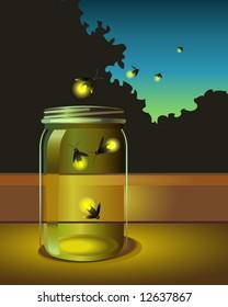 vector of fireflies escaping a glass jar