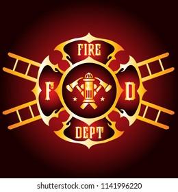 Vector Fireman Fire Department Firefighter Metallic Badge Shield Symbol