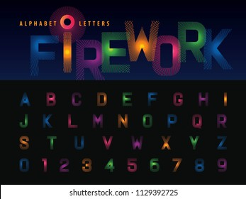Vector of Firework Alphabet Letters and numbers, Modern Colorful line stylized Lettering, Condensed Fonts set for Celebrate, Party, Fashion. Carnival Festival, Entertainment, Happy new year,  Fun Fair