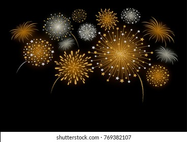 Vector firework design isolated on black background