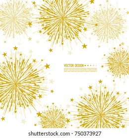 Vector firework design on white background with scattered stars and sparkles. Bright festive decoration.