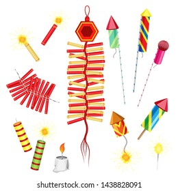 Vector fireworks, firecrackers and sparkler. On a transparent background