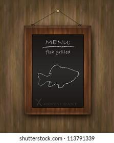 vector fish blackboard menu restaurant wood background black