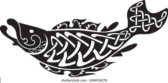 vector fish with celtic knot pattern