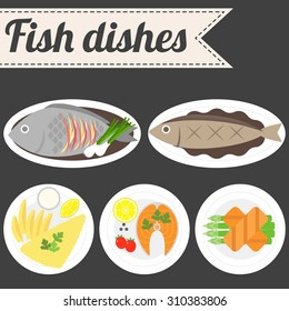 Vector Fish Dishes