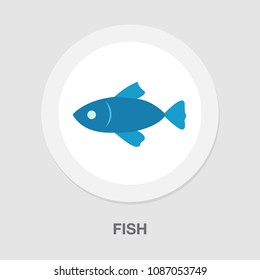 vector fish illustration - nature symbol, seafood icon - ocean fishing isolated