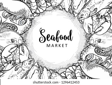 Vector fish market monochrome pattern, seafood restaurant, cafe logo, advertising poster with underwater animals. Marine composition with octopus, lobster, tuna, trout flatfish with lemon slice
