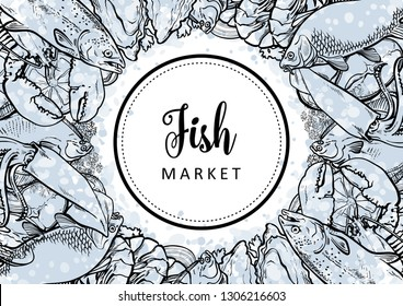 Vector fish market monochrome pattern, seafood restaurant, cafe logo, advertising poster with underwater animals. Marine composition with squid, lobster, tuna, trout flatfish with lemon slice
