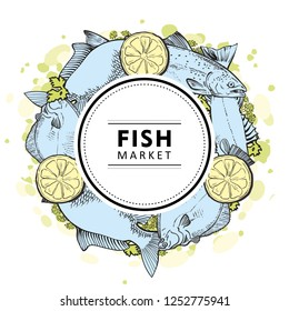 Vector fish market, seafood restaurant, cafe logo, advertising poster with circle underwater animals sketch pattern on abstract splash. Marine composition with tuna, trout flatfish with lemon slice