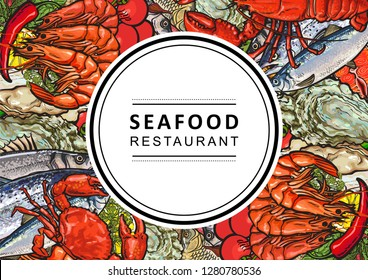 Vector fish market, seafood restaurant, cafe logo, advertising poster with underwater animals sketch pattern. Marine composition with sea eel, flatfish, lobster, crayfish with lemon slices