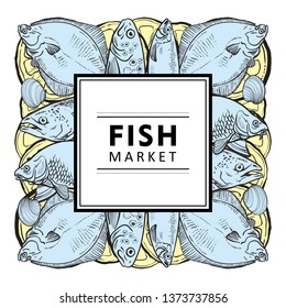 Vector fish market, seafood restaurant, cafe logo, advertising poster with underwater animals sketch square pattern on abstract splash. Marine composition with tuna, trout flatfish with lemon slice