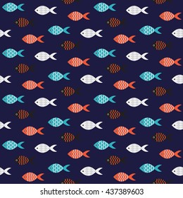 Vector fish seamless pattern. Shoal of small red and black fish in rows on dark blue sea pattern. Summer marine theme.