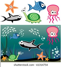 Vector fish under water ? shark, snail, starfish, octopus and others fishes