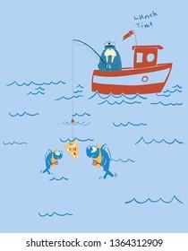 vector fisher walrus cartoon sketch print