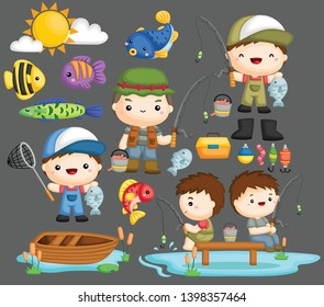 a vector of fisherman and his tools and equipment